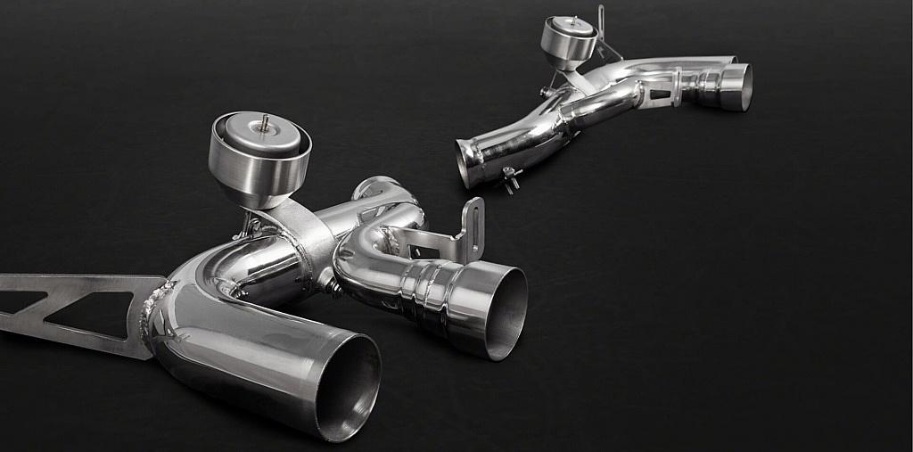 Handgefertigtes Endrohrsystem mit Klappensteuerung für Ferrari California T