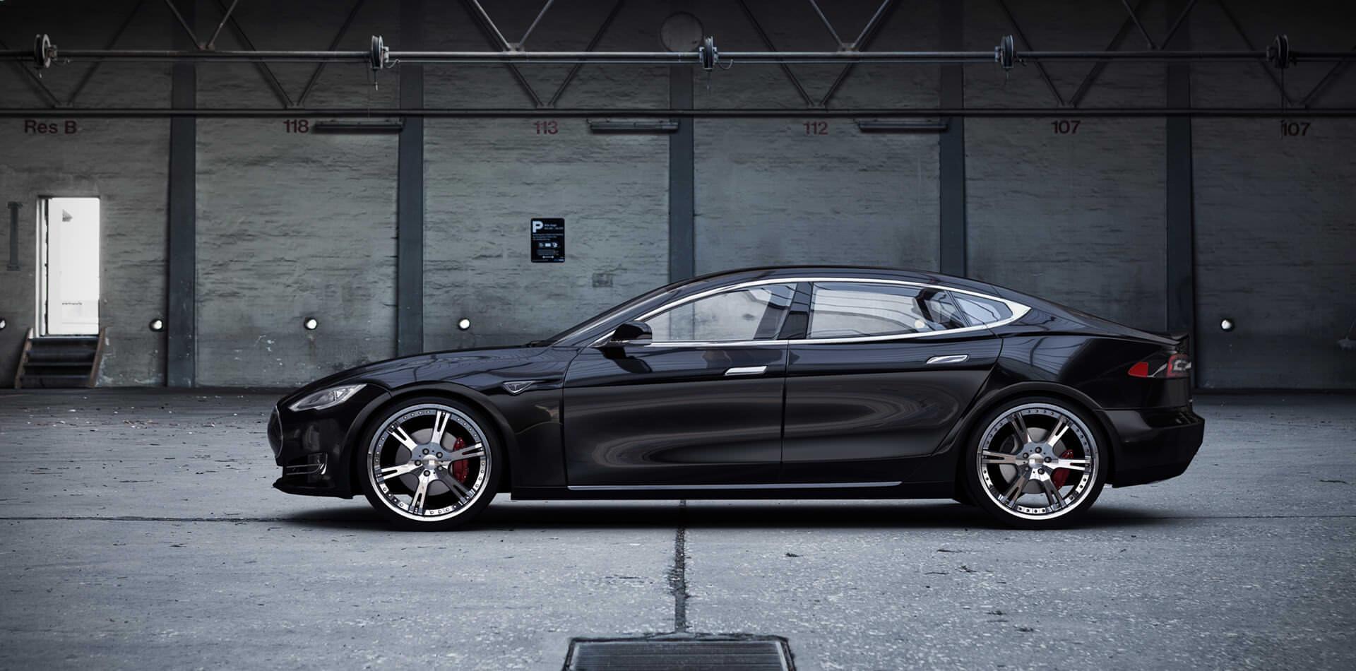 Tesla Model S mit mehrteiligen 6Sporz² Schmiedeflgen in 9,0 + 9,5×22 Zoll