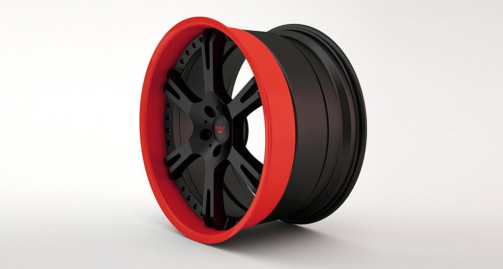Felge 6Sporz² Beispiel: Aussenbett in rot und Radstern mattschwarz