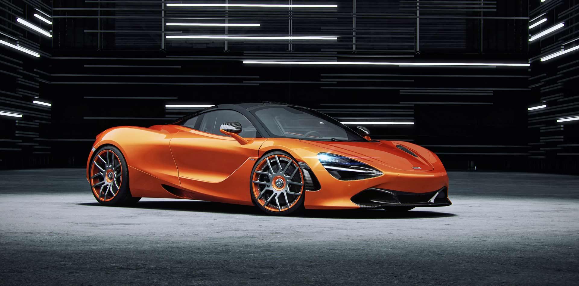McLaren 720S mit 9,5×20 und 12,0×21 Zoll FORK Schmiedefelgen