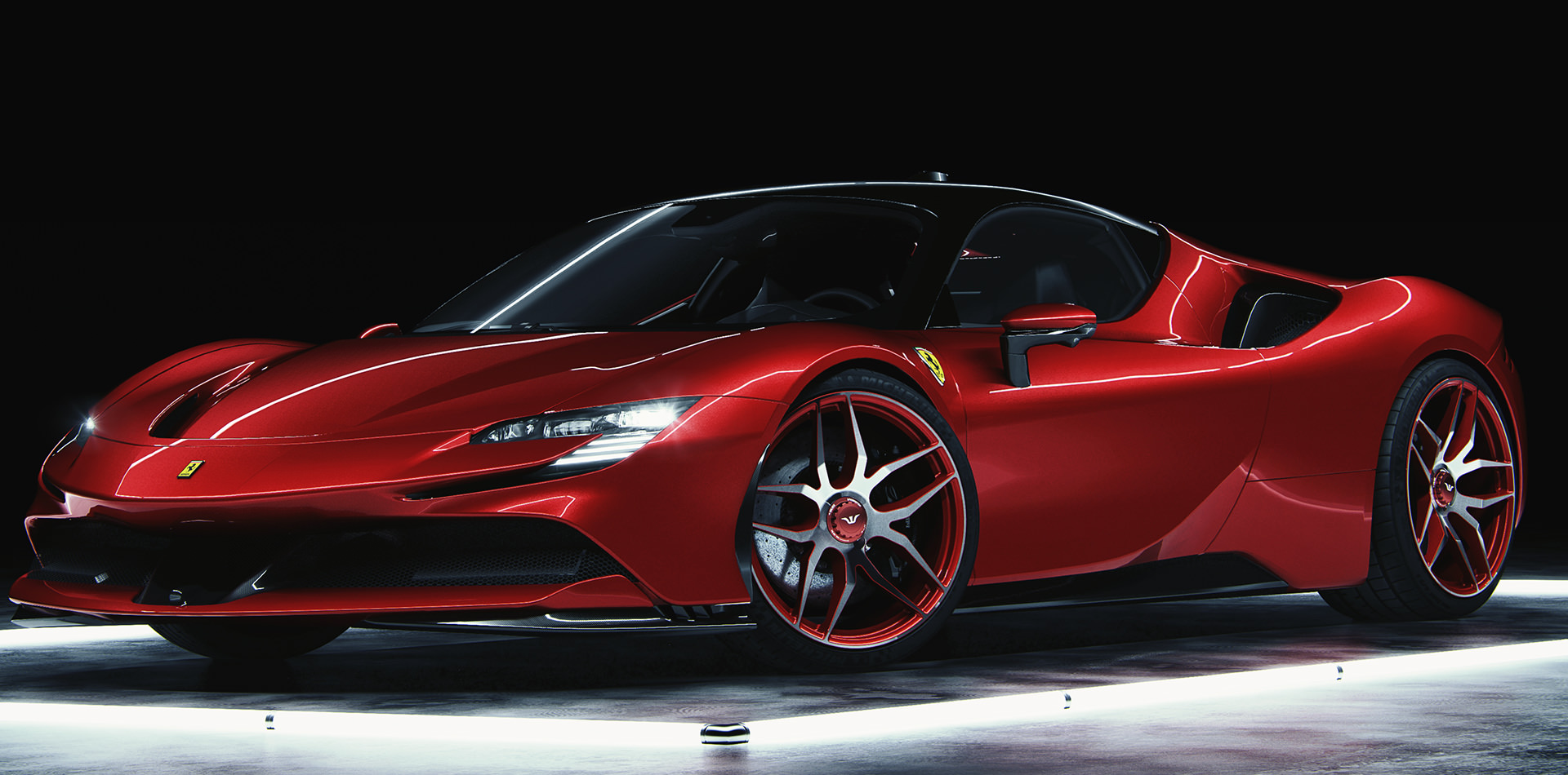 Ferrari SF90 Stradale UNDERDOCK UD1 Rosso Corso Front-Ansicht